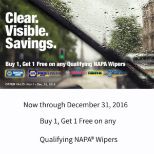 wiper blades on a windshield